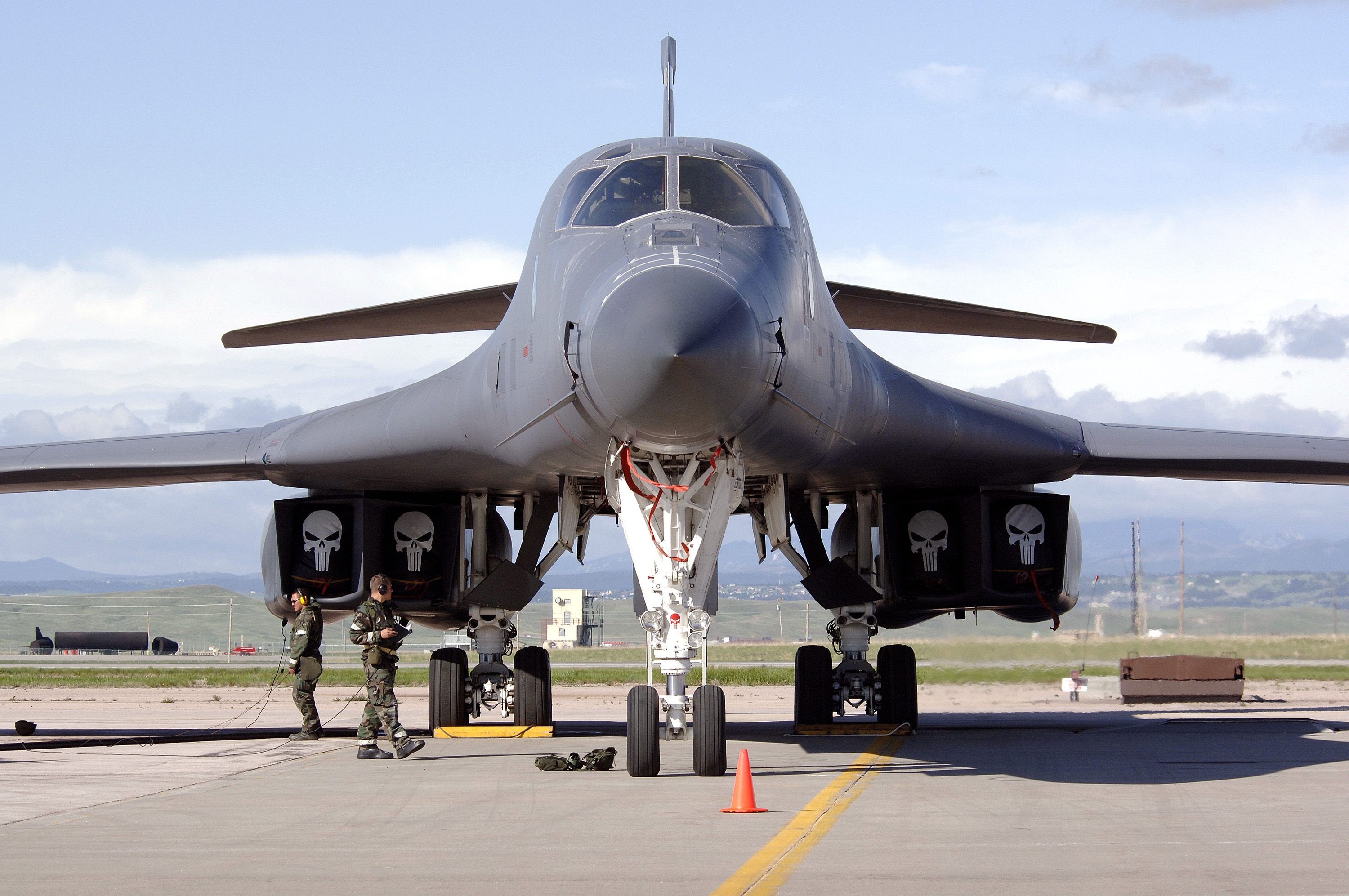 A B-1 Lancer awaits a pre-flight inspection at Ellsworth Air Force Base, S.D., on Tuesday, May 23, 2006. The base is undergoing an exercise named Badlands Express 06-03 in preparation for an operational readiness inspection in July.   (U.S. Air Force photo/Senior Airman Michael B. Keller)